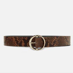 ZARA Snakeskin Print Leather Belt